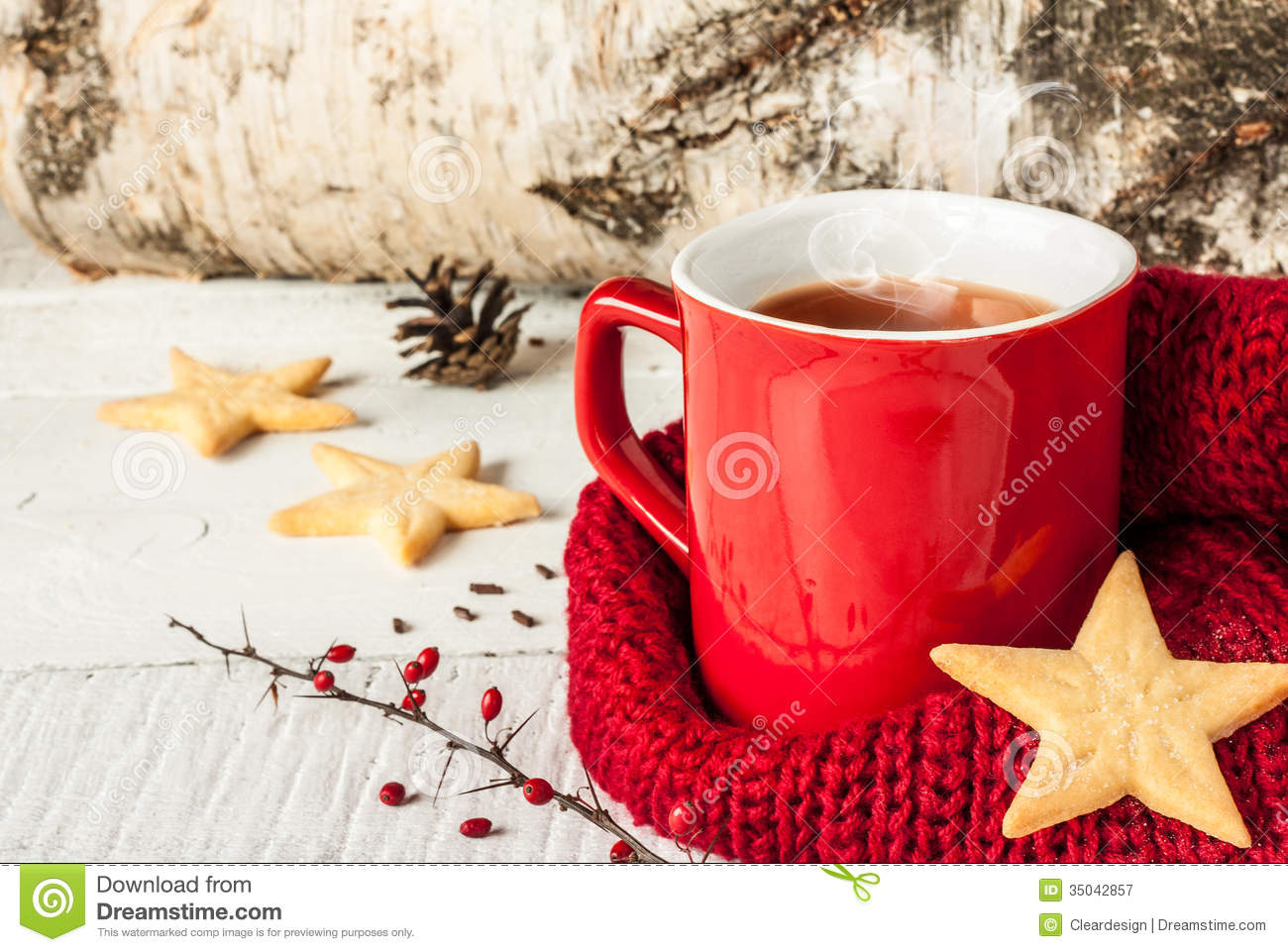 Hot Winter Tea In A Red Mug With Christmas Cookies Royalty Free Stock ...