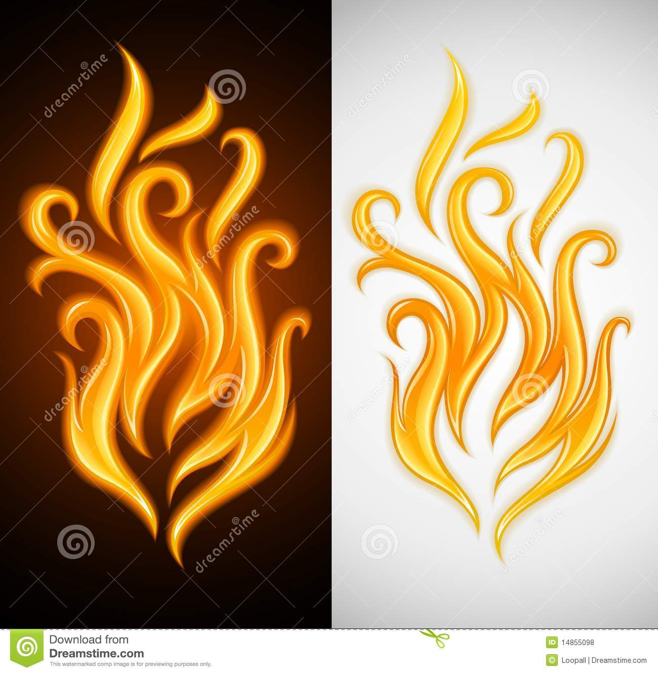 Hot yellow flame symbol of burning fire