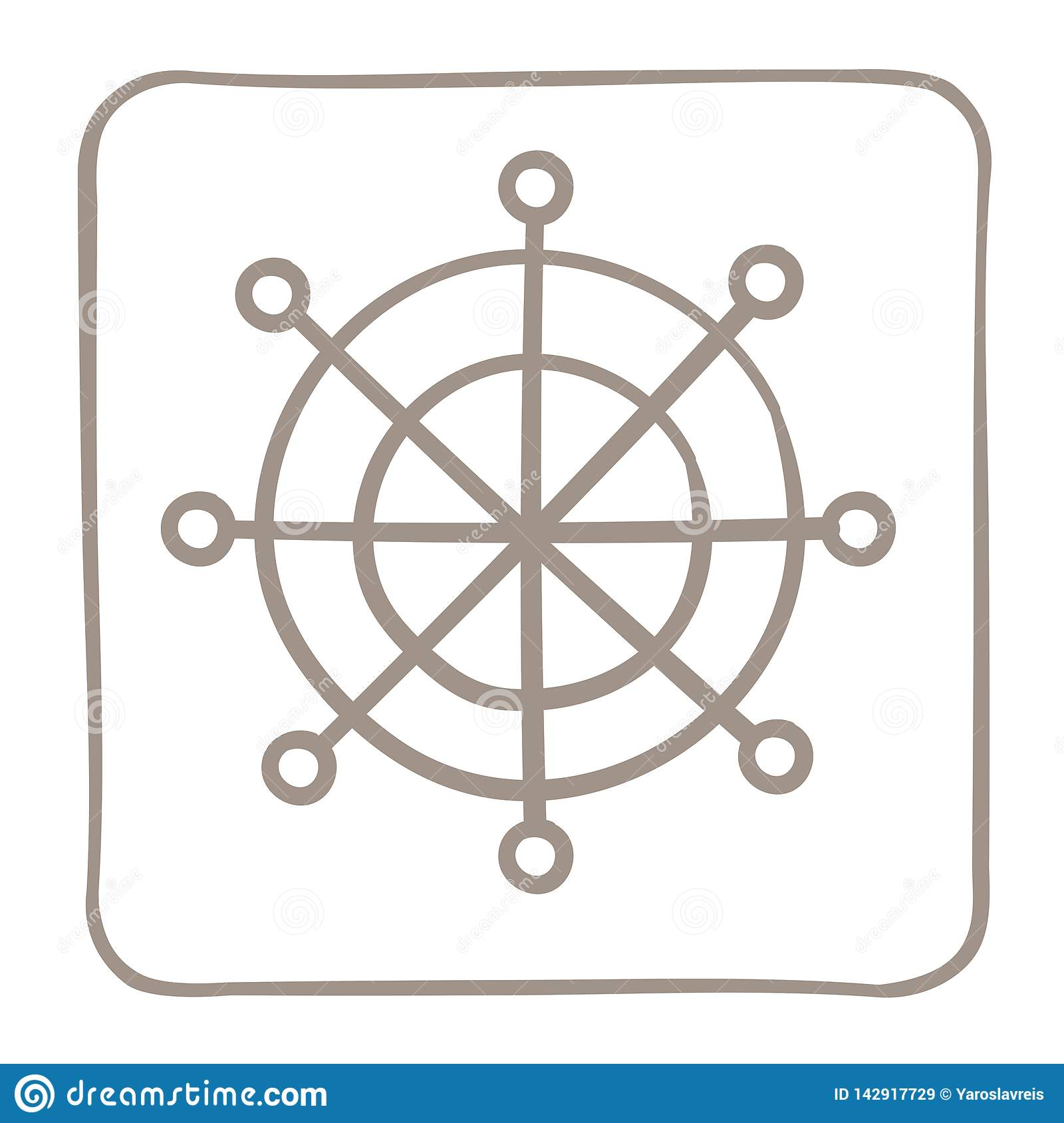 Steering wheel Icon in a light brown frame. Vector graphics.