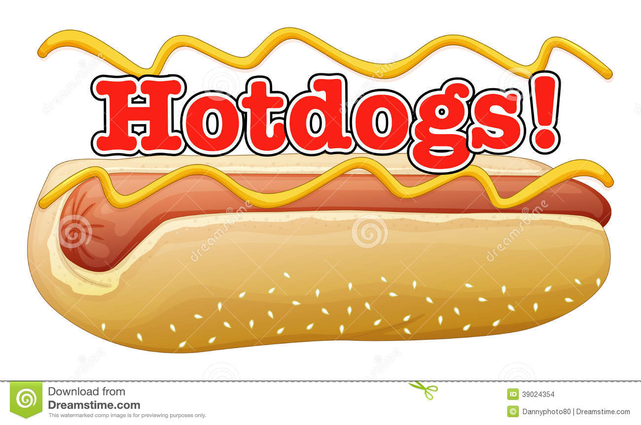 a hotdog in a bun with a label stock vector illustration