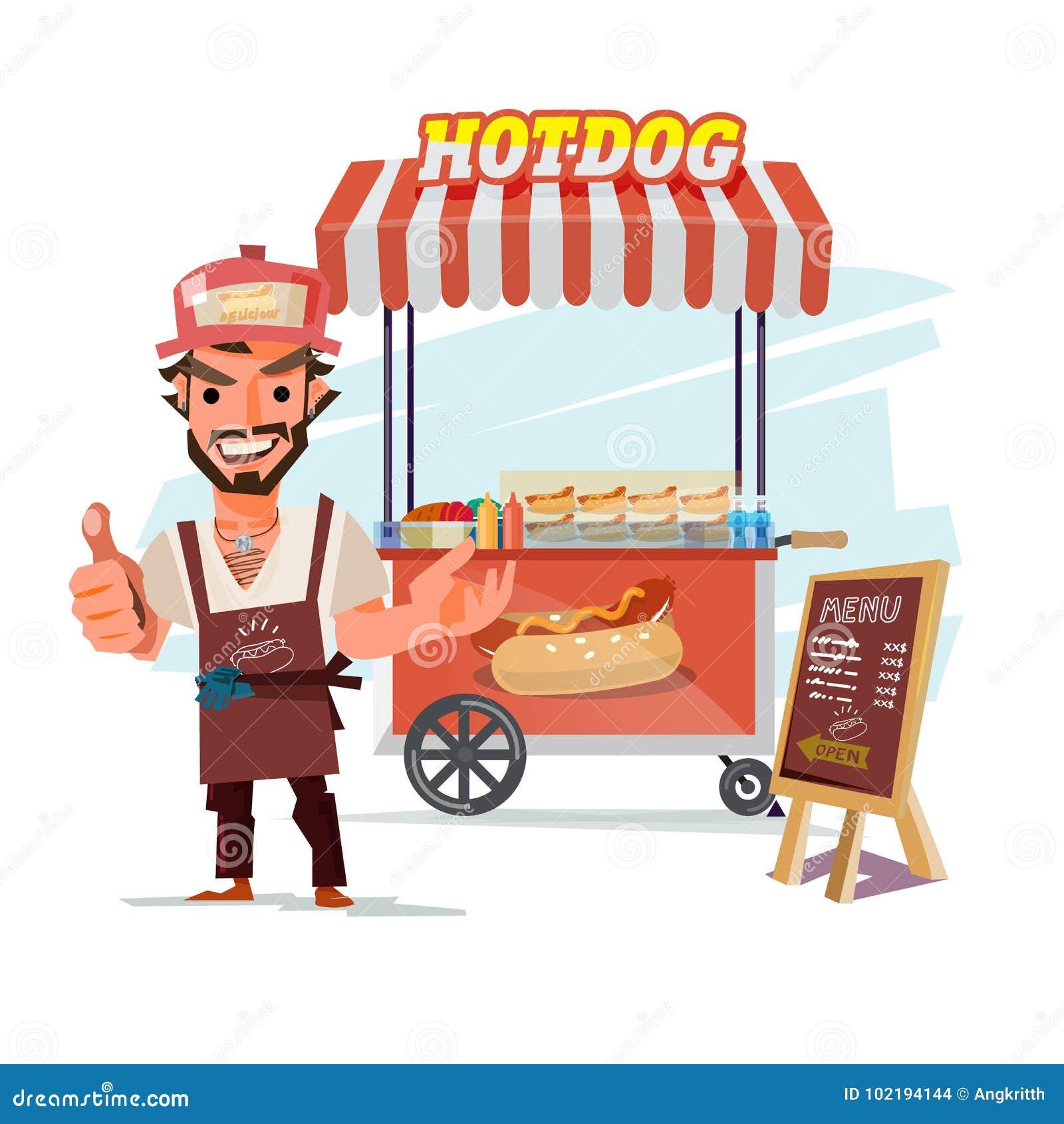 Hotdog Food Truck  Street Fodd With Merchant  Character Design