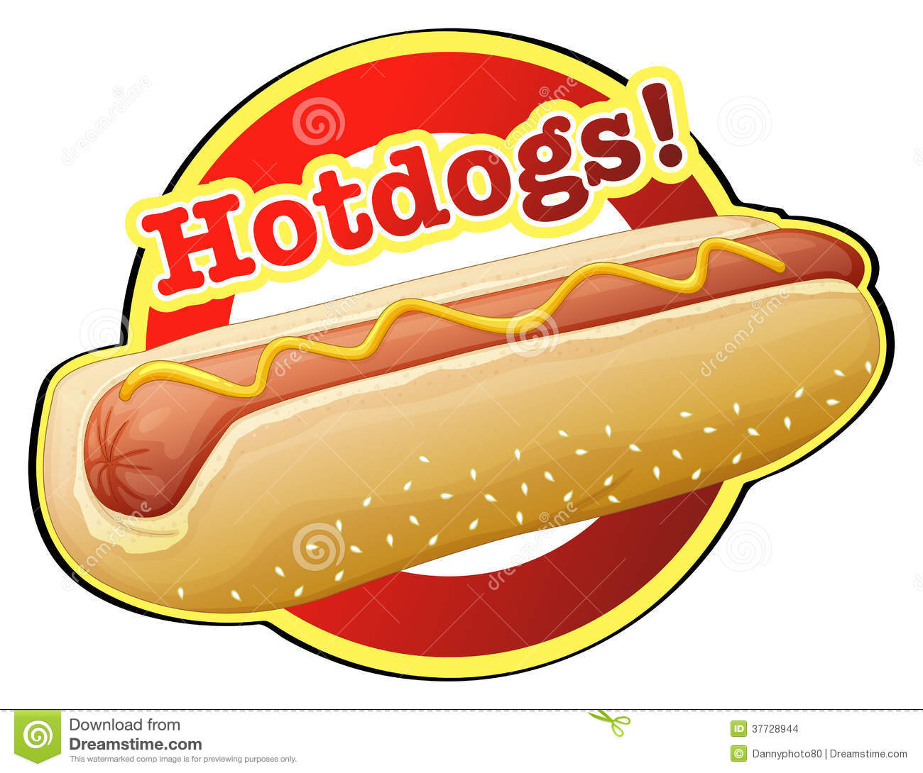 Illustration of a hotdog label on a white background.
