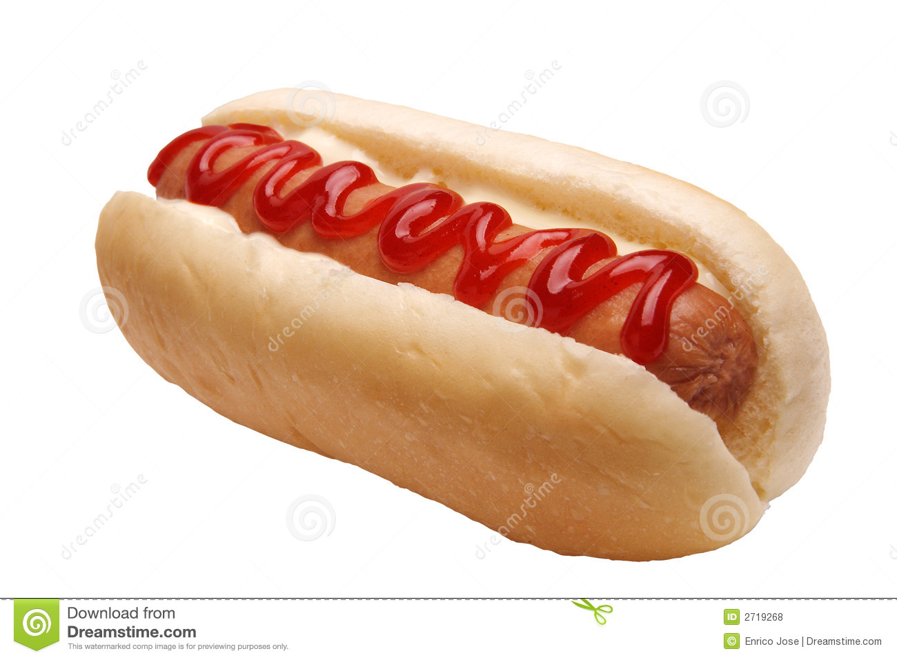 Hotdog Sandwich On White Royalty Free Stock Photos - Image: 2719268