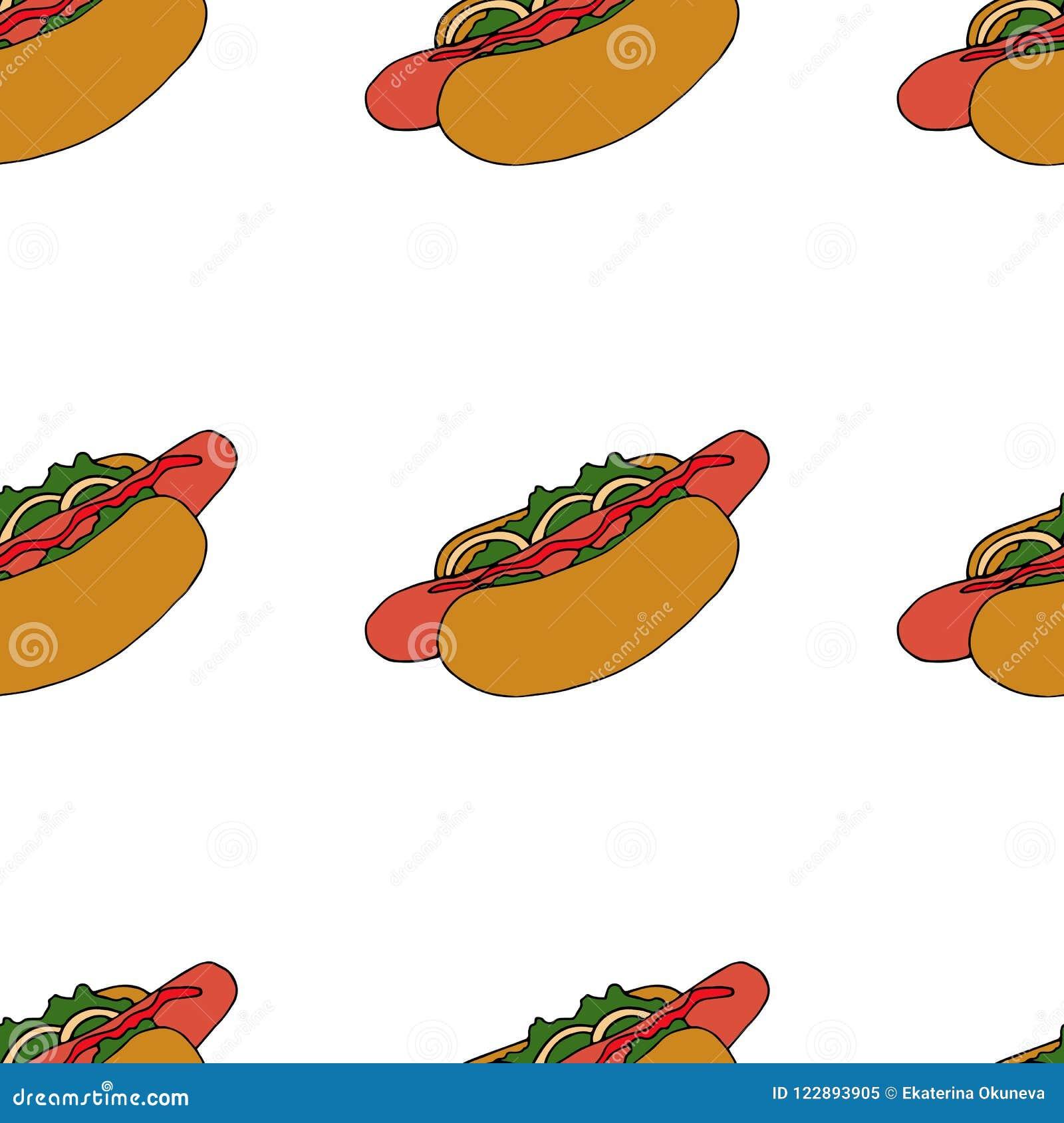 Hotdog Pattern Hand Drawn Illustration Bright Cartoon