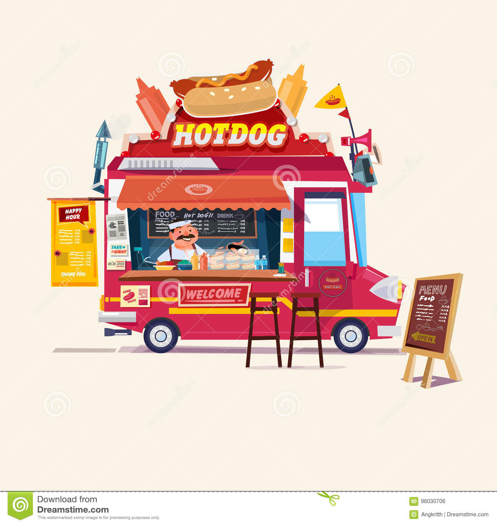 Hotdogs jedzenie Truck Uliczny jedzenie ciężarówki pojęcie z handlarzem c