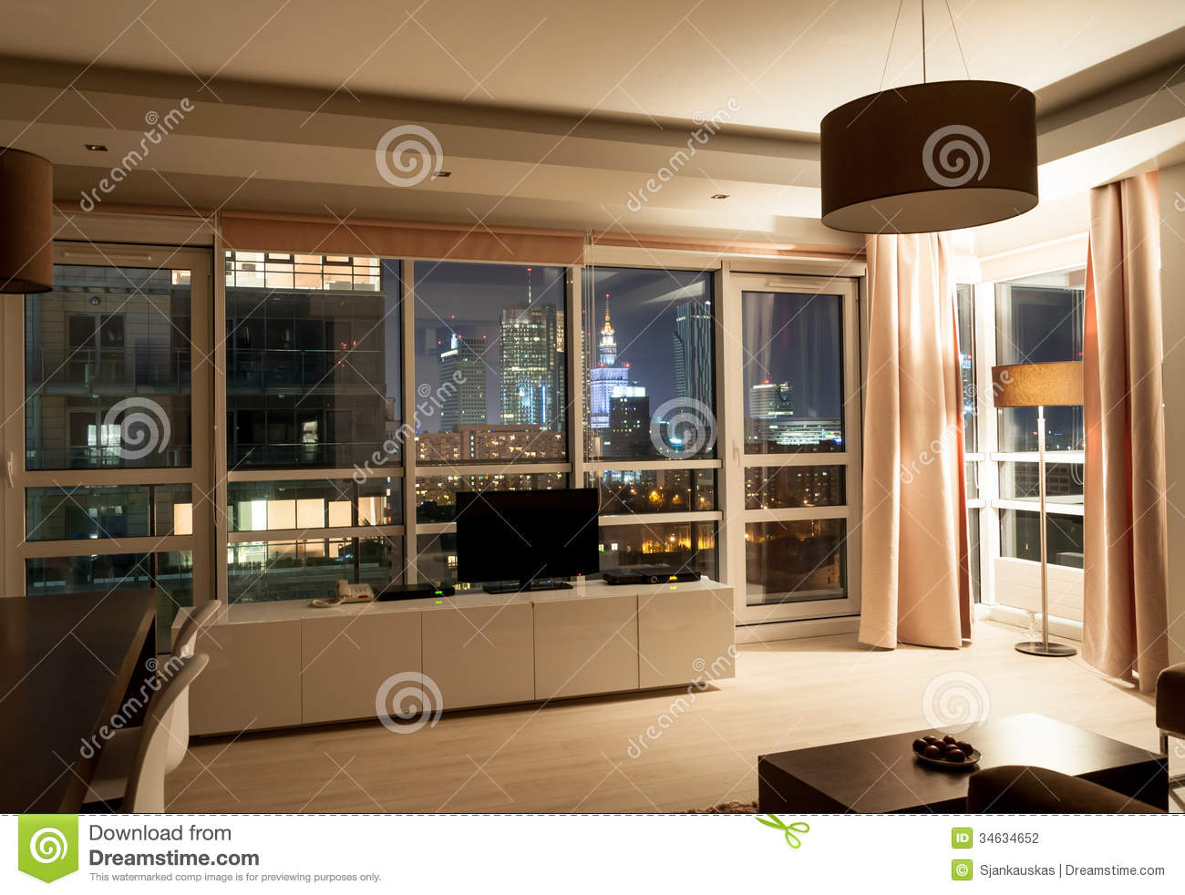 Hotel Apartment Room Night View Stock Photo Image 34634652