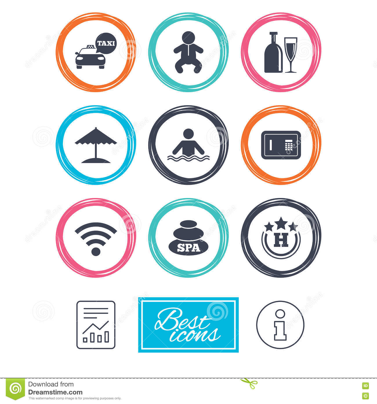 Swimming Pool Cleaning Symbols : Hotel service linear icons stock photo cartoondealer