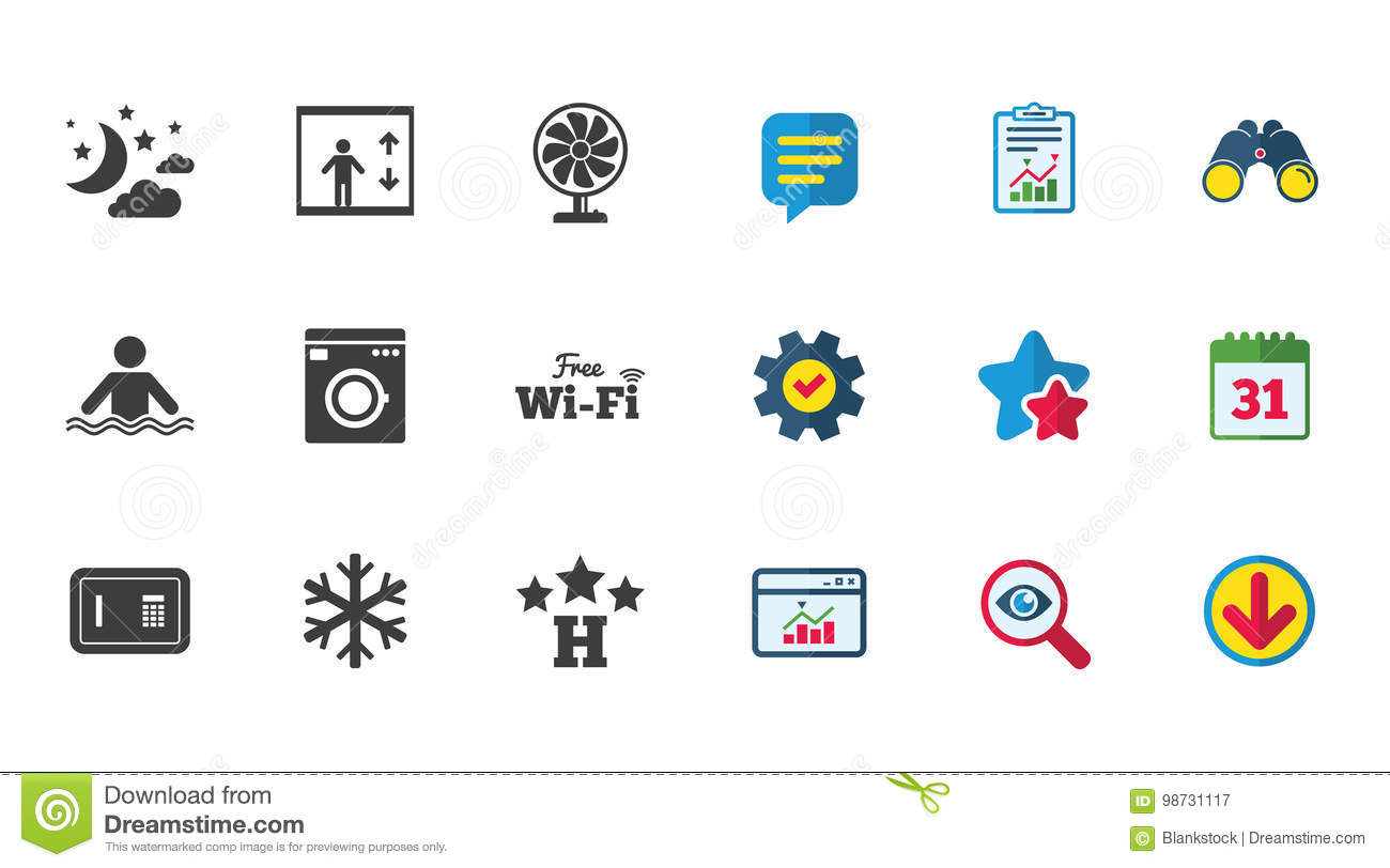Hotel, Apartment Service Icons  Wifi Internet  Stock Vector