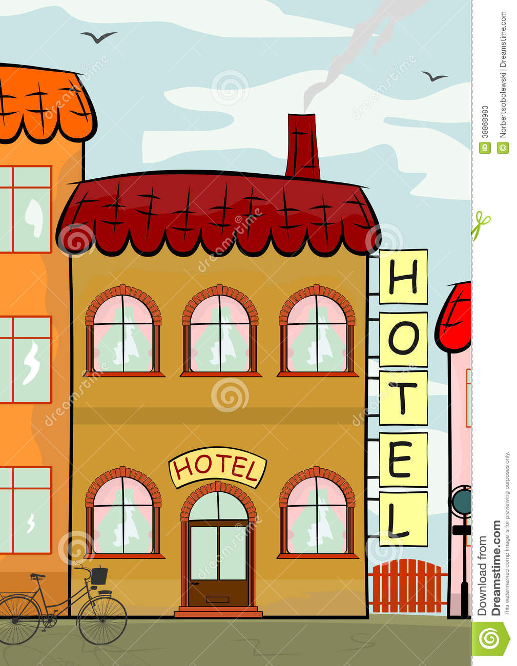 Background with cartoon hotel standing among other buildings.: www.dreamstime.com/stock-photos-hotel-background-cartoon-standing...