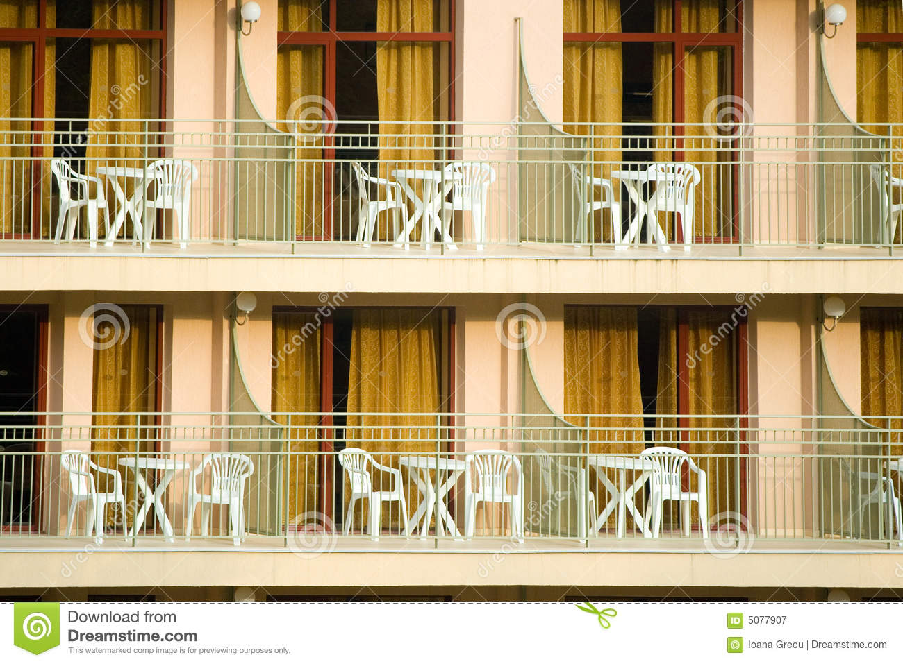 Hotel balconies royalty free stock photography image for Hotels with balconies