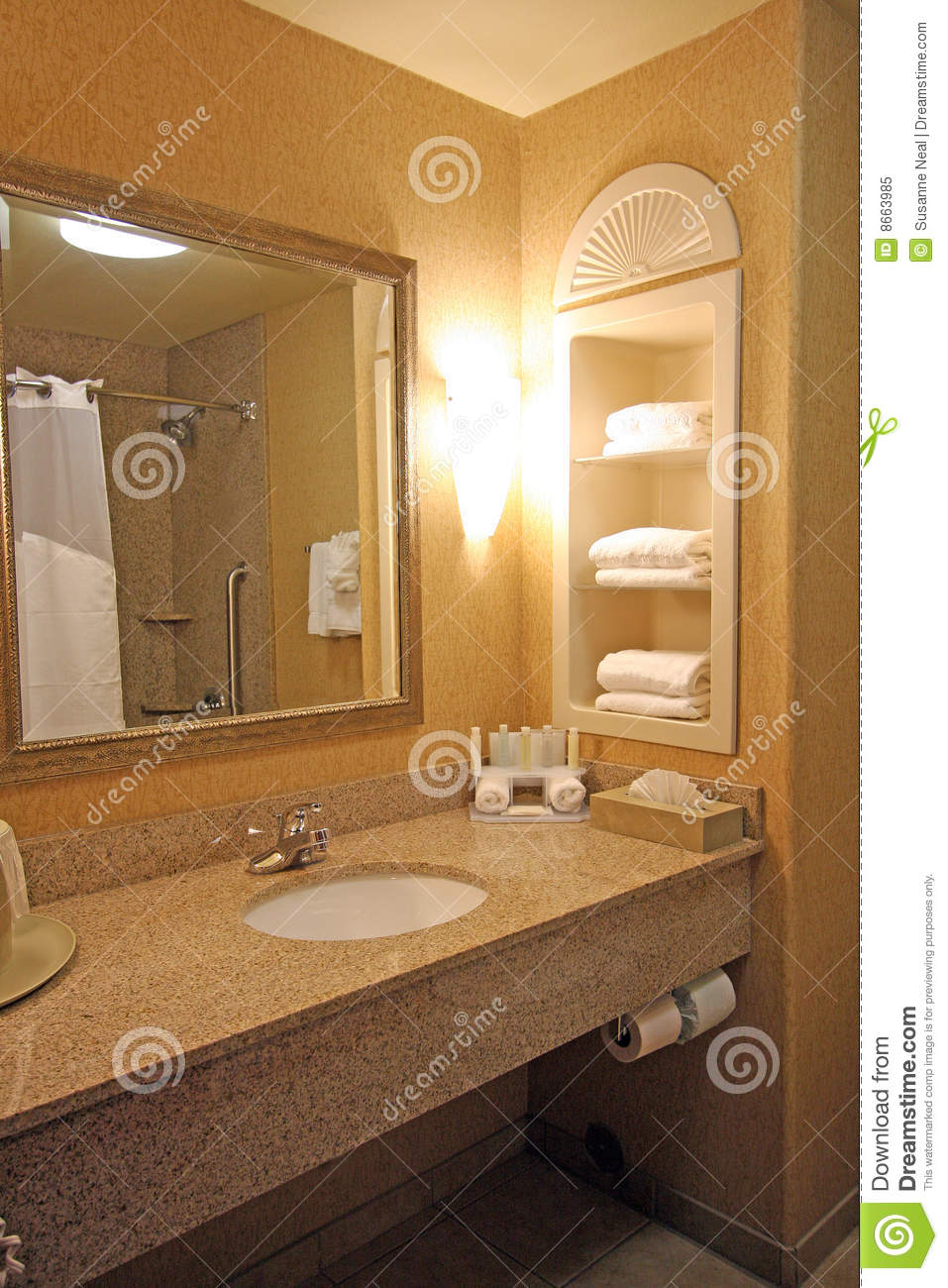 Hotel bathroom sink area royalty free stock photo image for Mirror hotel