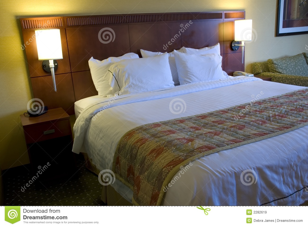 Lamps Bedroom Hotel Bed And Lamps Royalty Free Stock Images Image 2282619