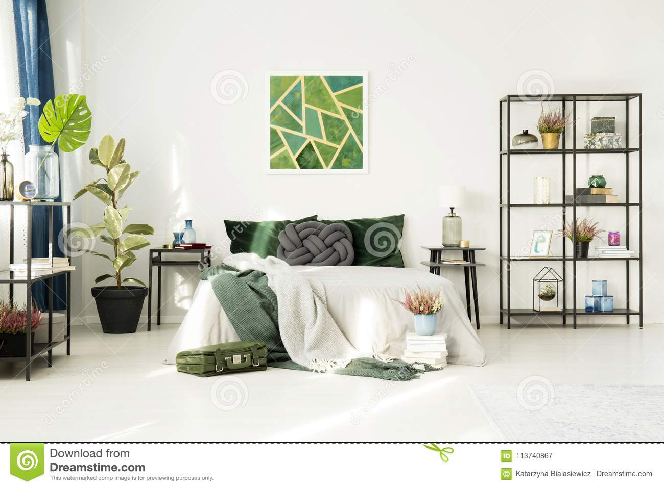 Hotel Bedroom With Emerald Decorations Stock Image - Image of ...