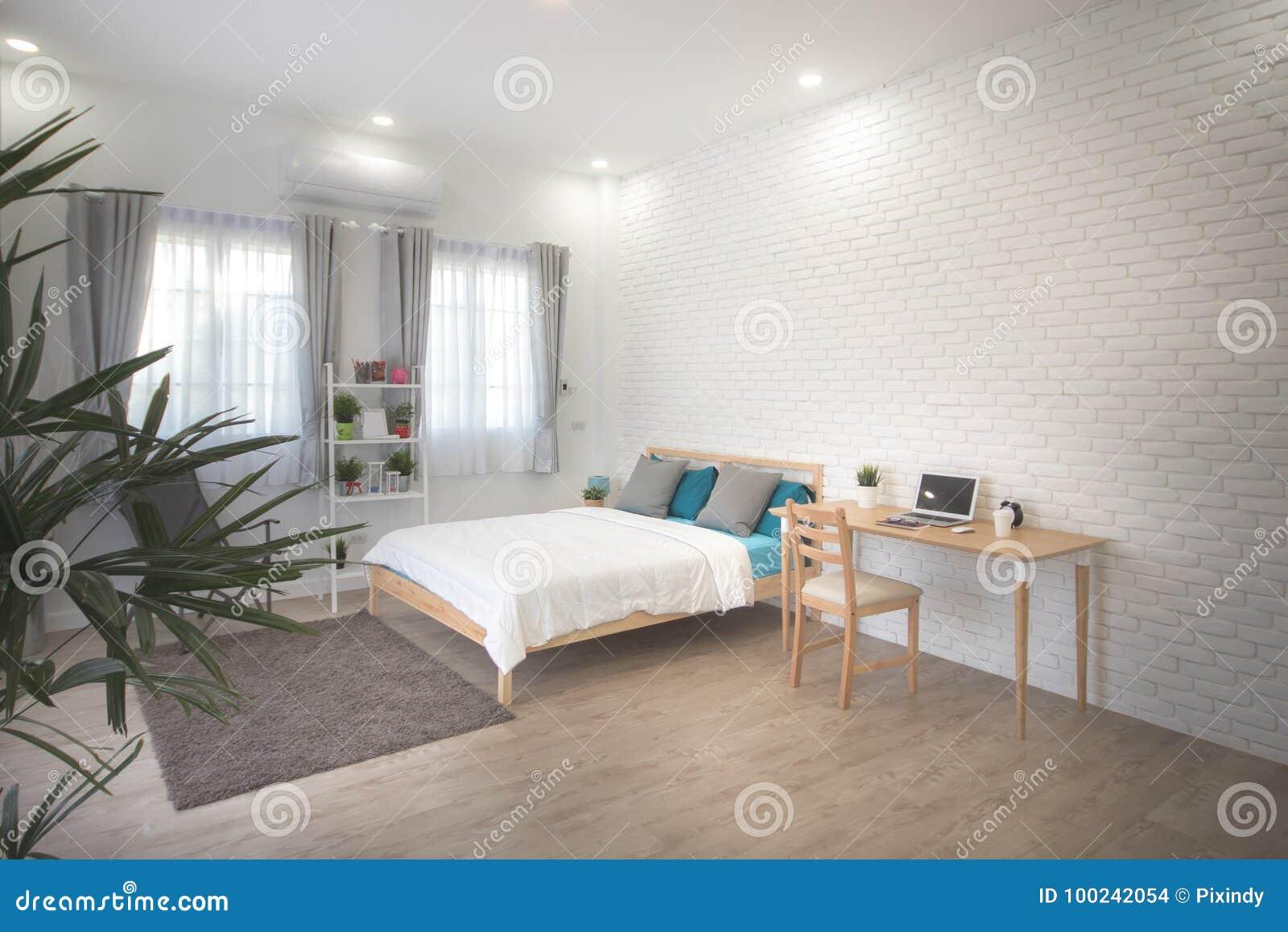Hotel bedroom interior design. White bedroom setting studio for rent.