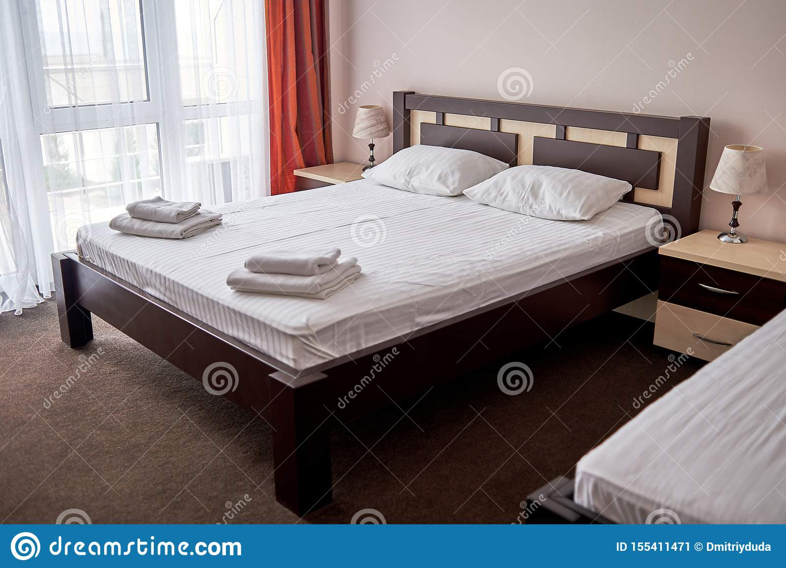 Hotel Bedroom Interior With Empty Double Bed With Wooden Headboard Bedside Table And Big Window Copy Space White Sheet Stock Image Image Of Bedding Copy 155411471