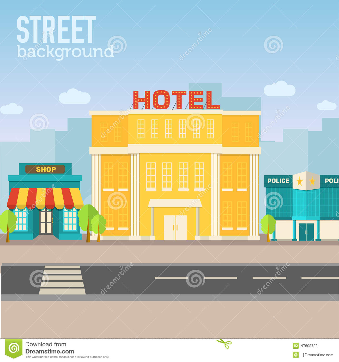 Hotel building in city space with road on flat stock for City hotel design