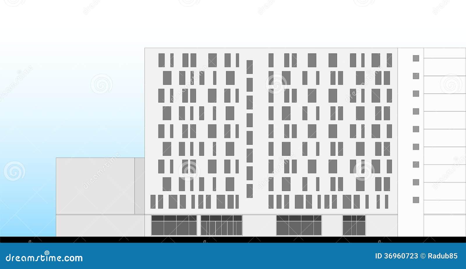 Hotel Building Facade Architectural Plan Stock Photos Image