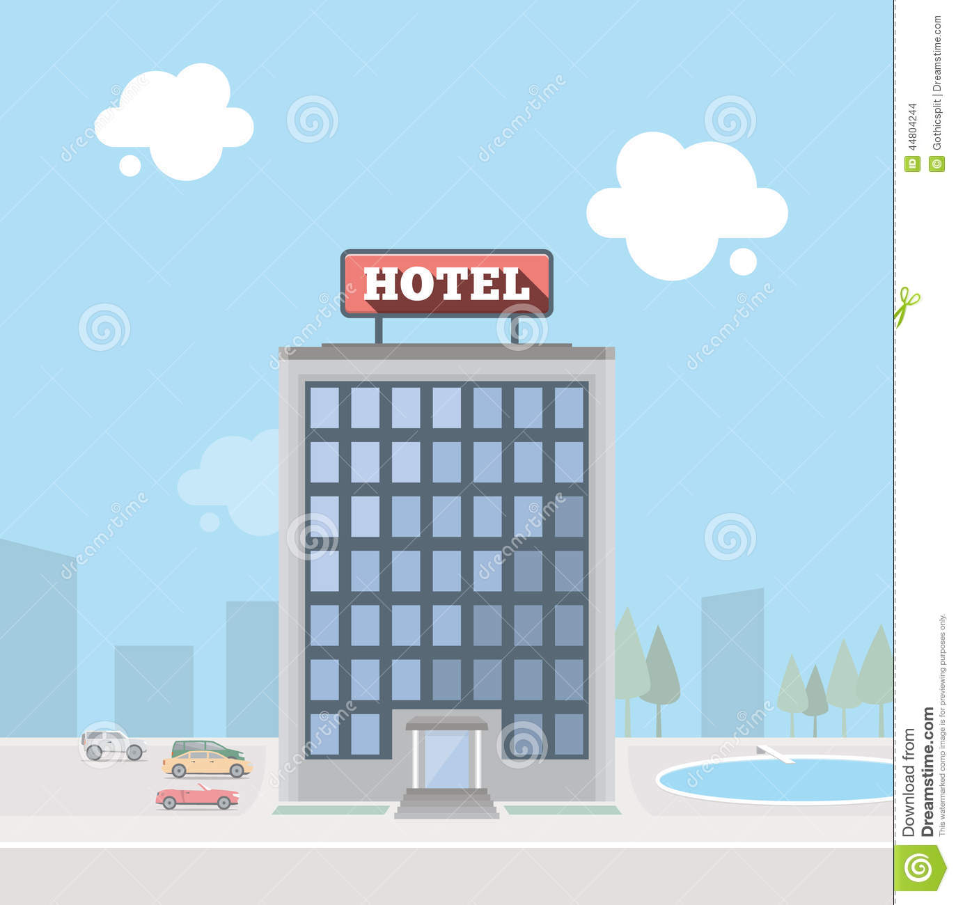 Hotel Building Stock Vector Image 44804244