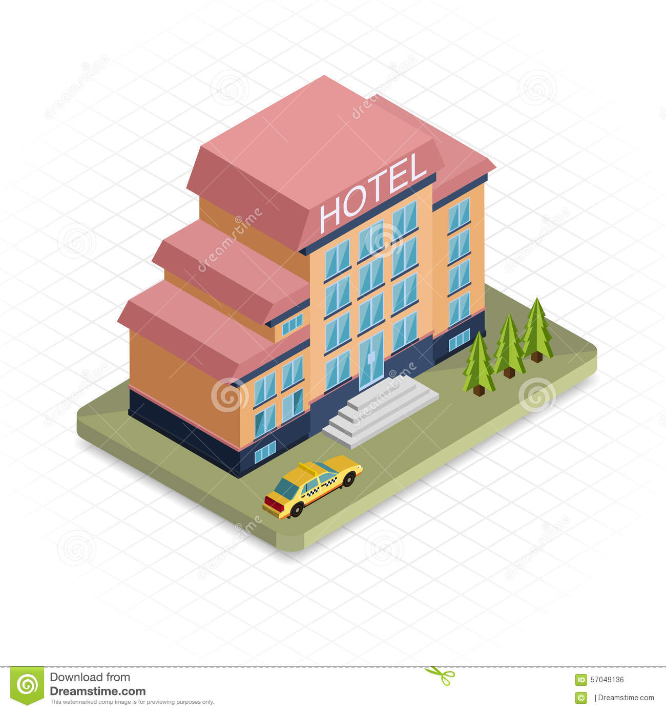 Hotel building isometric 3d pixel design icon stock for 3d flat design online