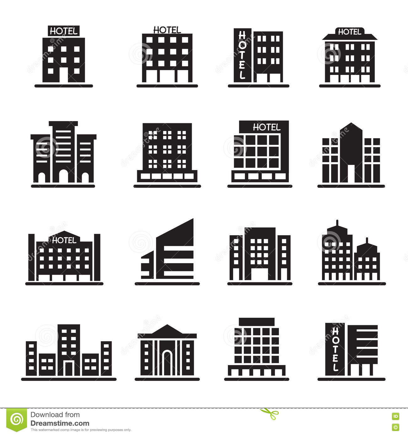 Hotel Building Office Tower Icons Set Illustration