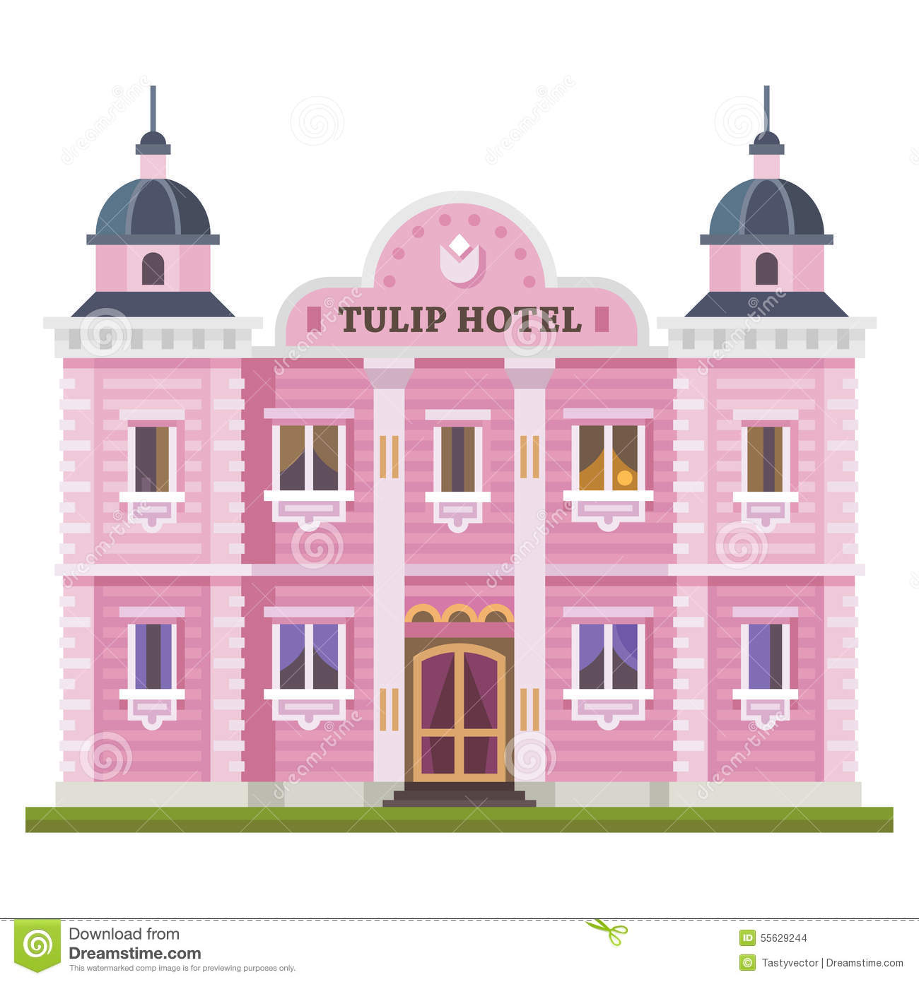 Hotel Building Set Of Elements For Construction Urban And Village Landscapes Vector Flat