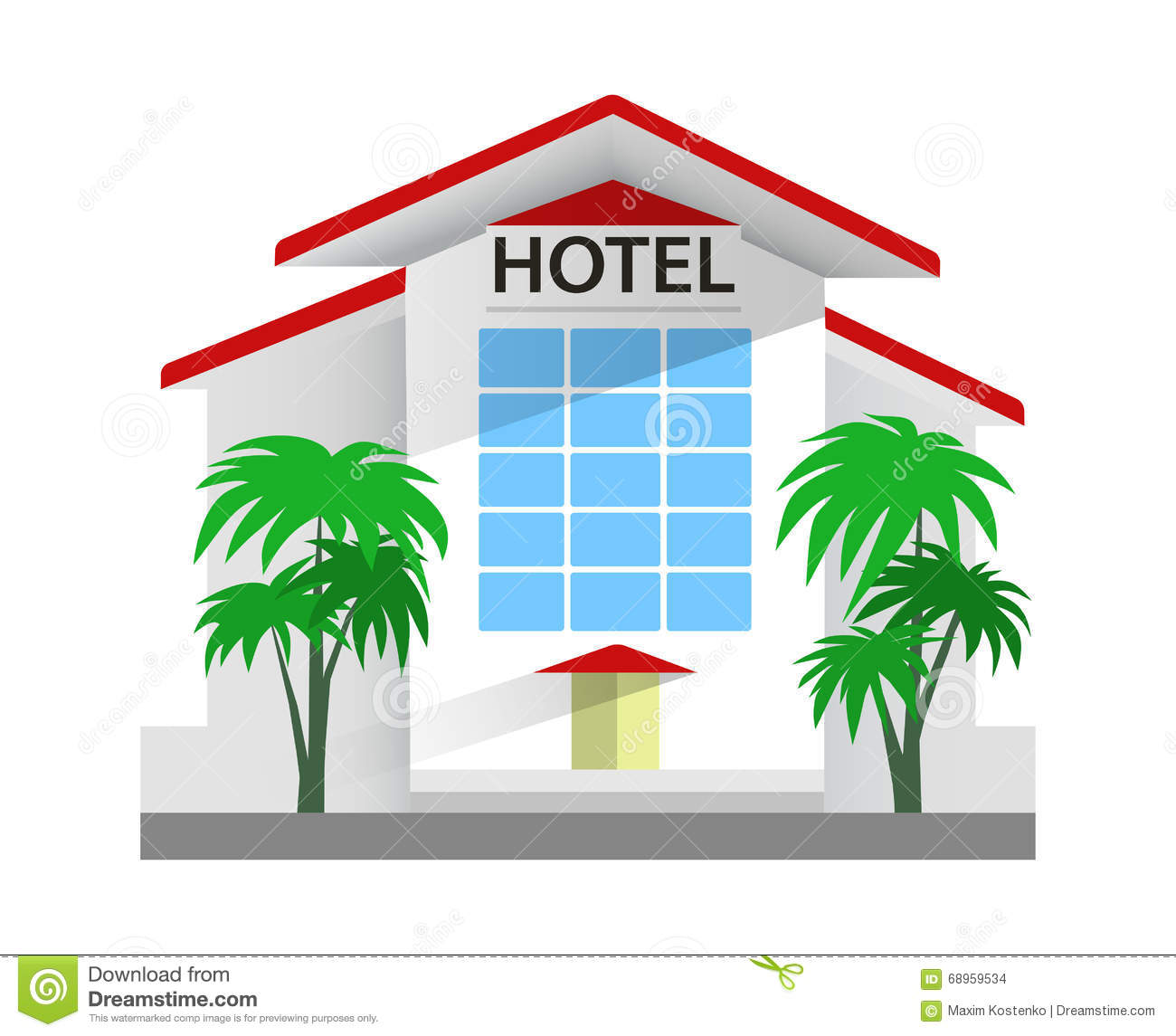 Hotel Building Vector Illustration Travel And Tourism Stock
