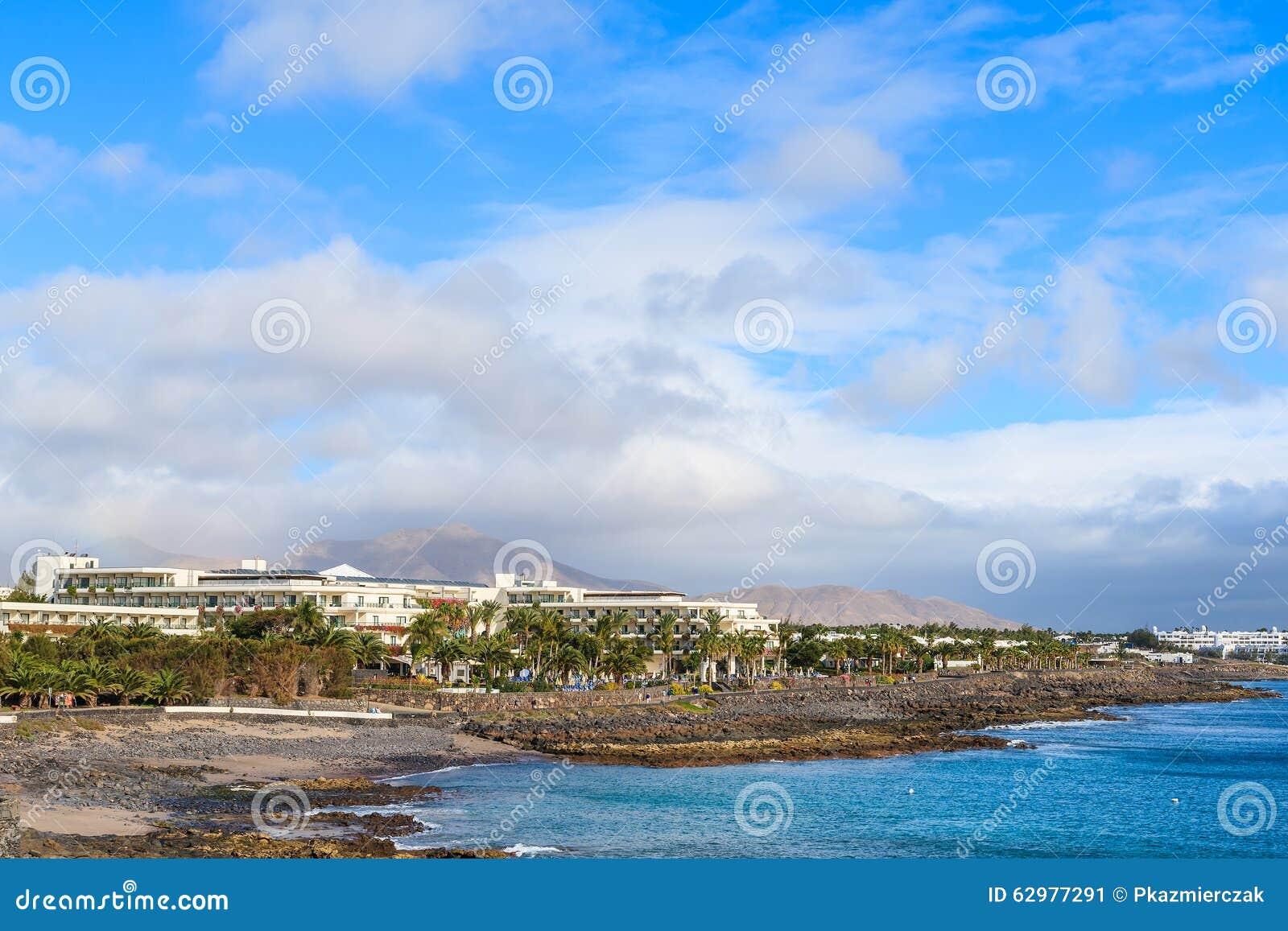 Hotel buildings on coast of lanzarote island stock photo for Designhotel lanzarote