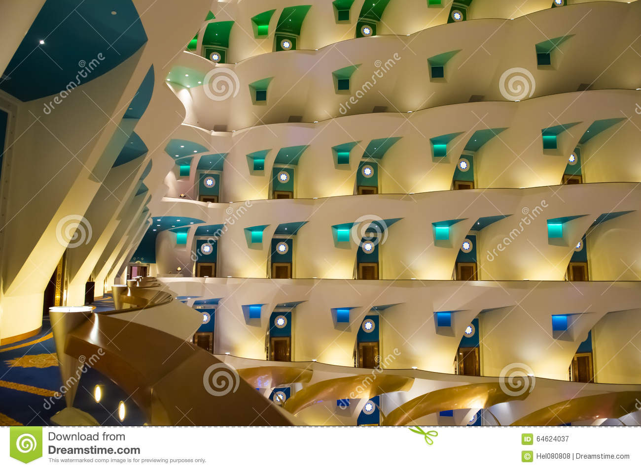 Hotel Burj Al Arab Interior Stock Photo Image 64624037