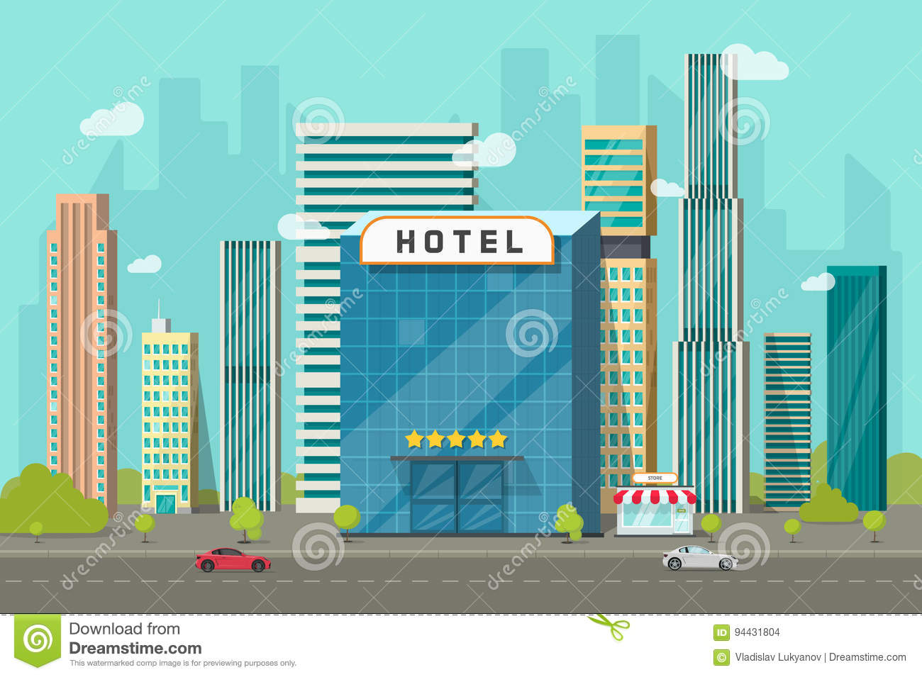 Hotel in the city view vector illustration, flat cartoon hotel building on street road and big skyscraper town landscape