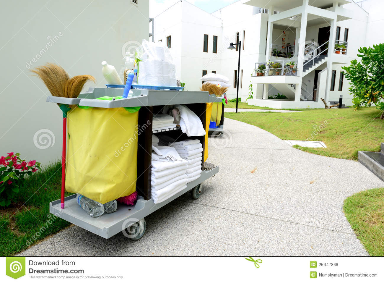 The Hotel Cleaning Tool Trolley Royalty Free Stock Photos - Image: 25447868