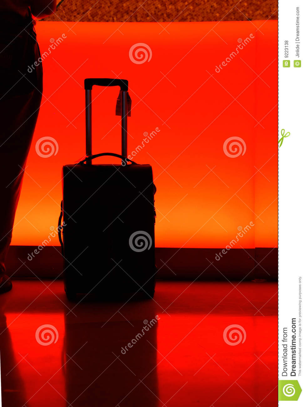 Hotel counter with luggage at night