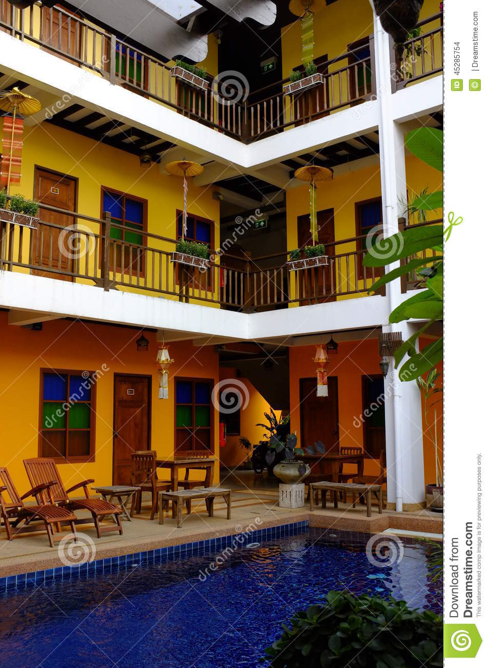 Hotel courtyard with swimming pool editorial stock image for Lovely hotel
