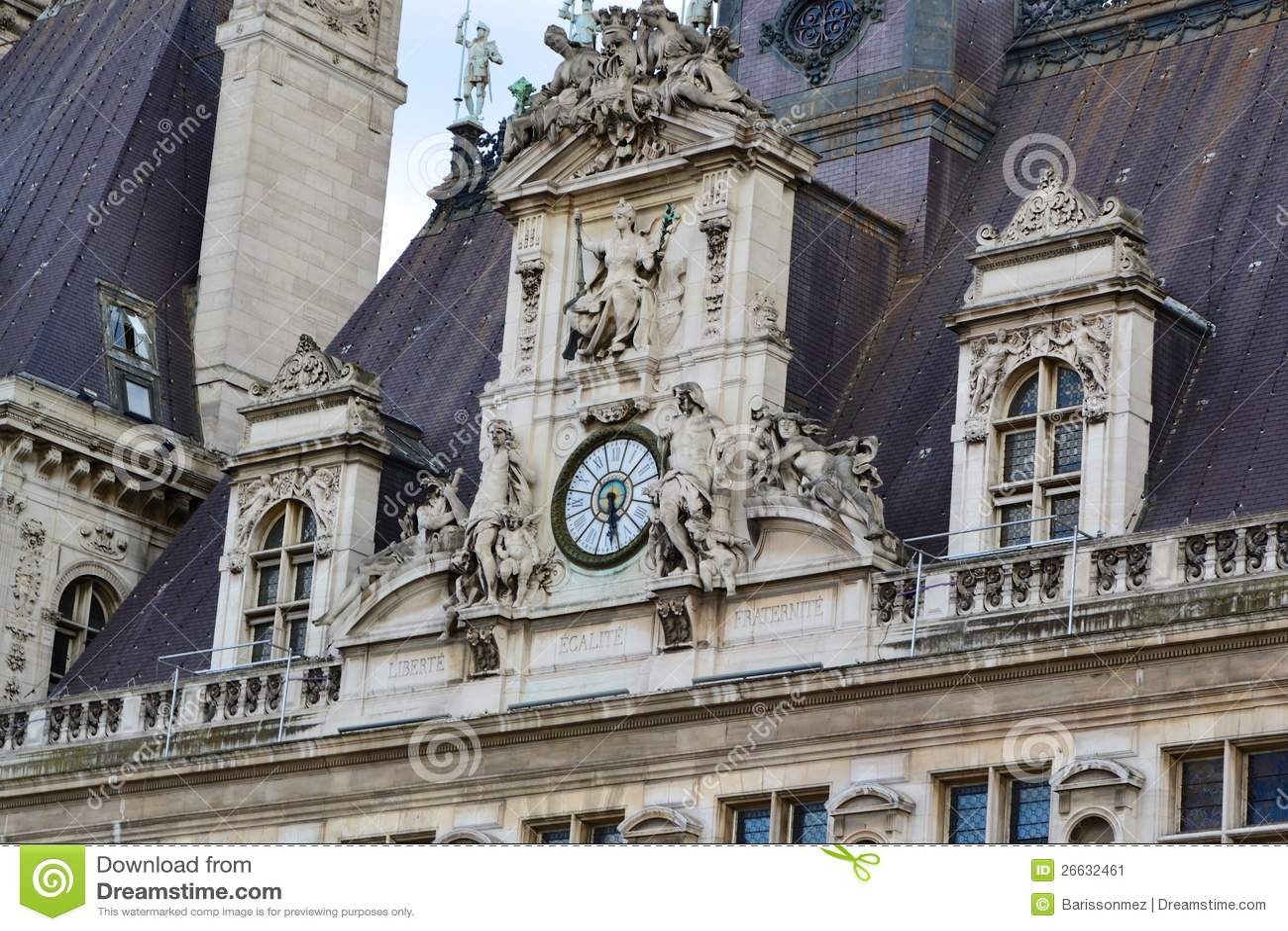 Hotel De Ville Clock Stock Image Image 26632461
