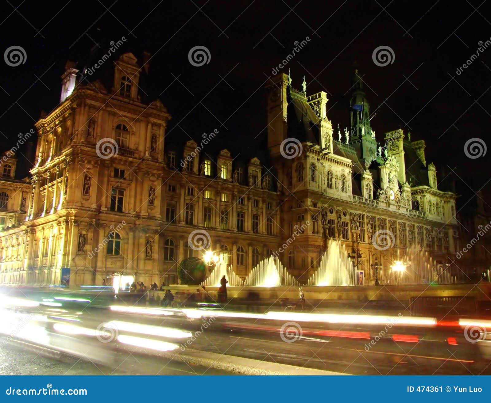 Download Hotel De Ville De Paris (city Hall) Stock Image - Image of street, blanche: 474361