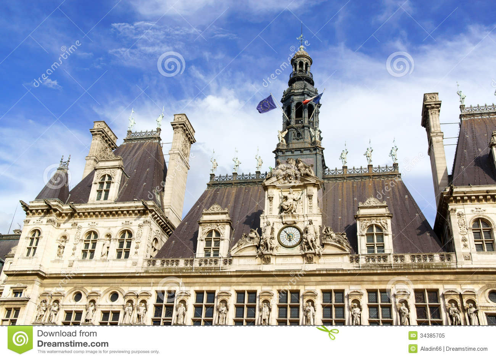 Hotel De Ville De Paris City Hall In Summer Royalty Free