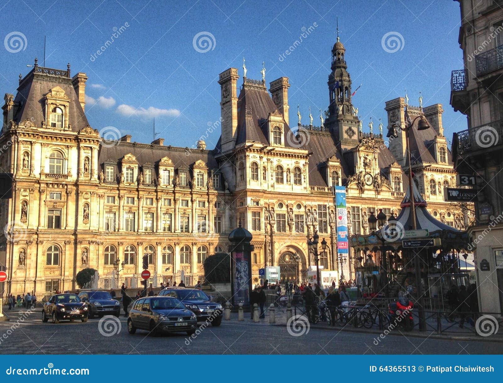 Hotel De Ville Em Paris Foto De Stock Editorial Imagem