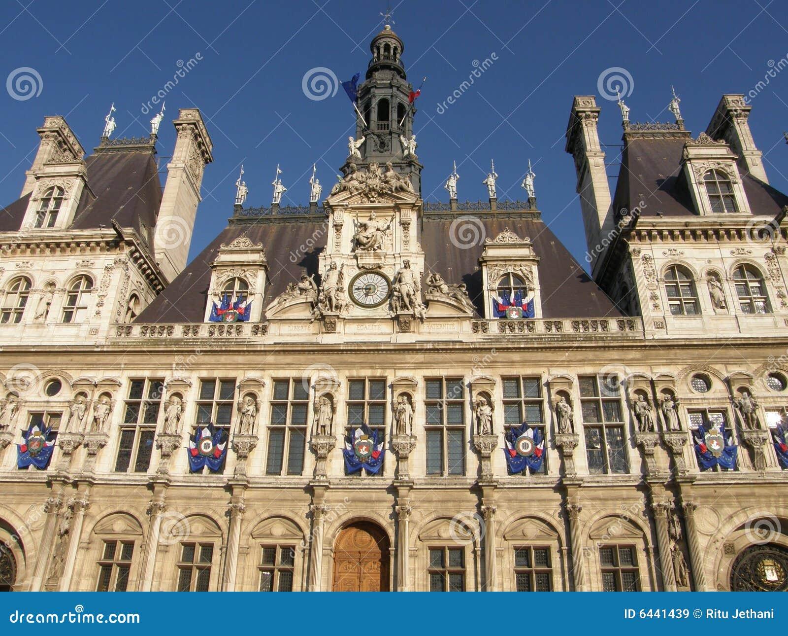 Hotel De Ville In Paris Royalty Free Stock Images Image