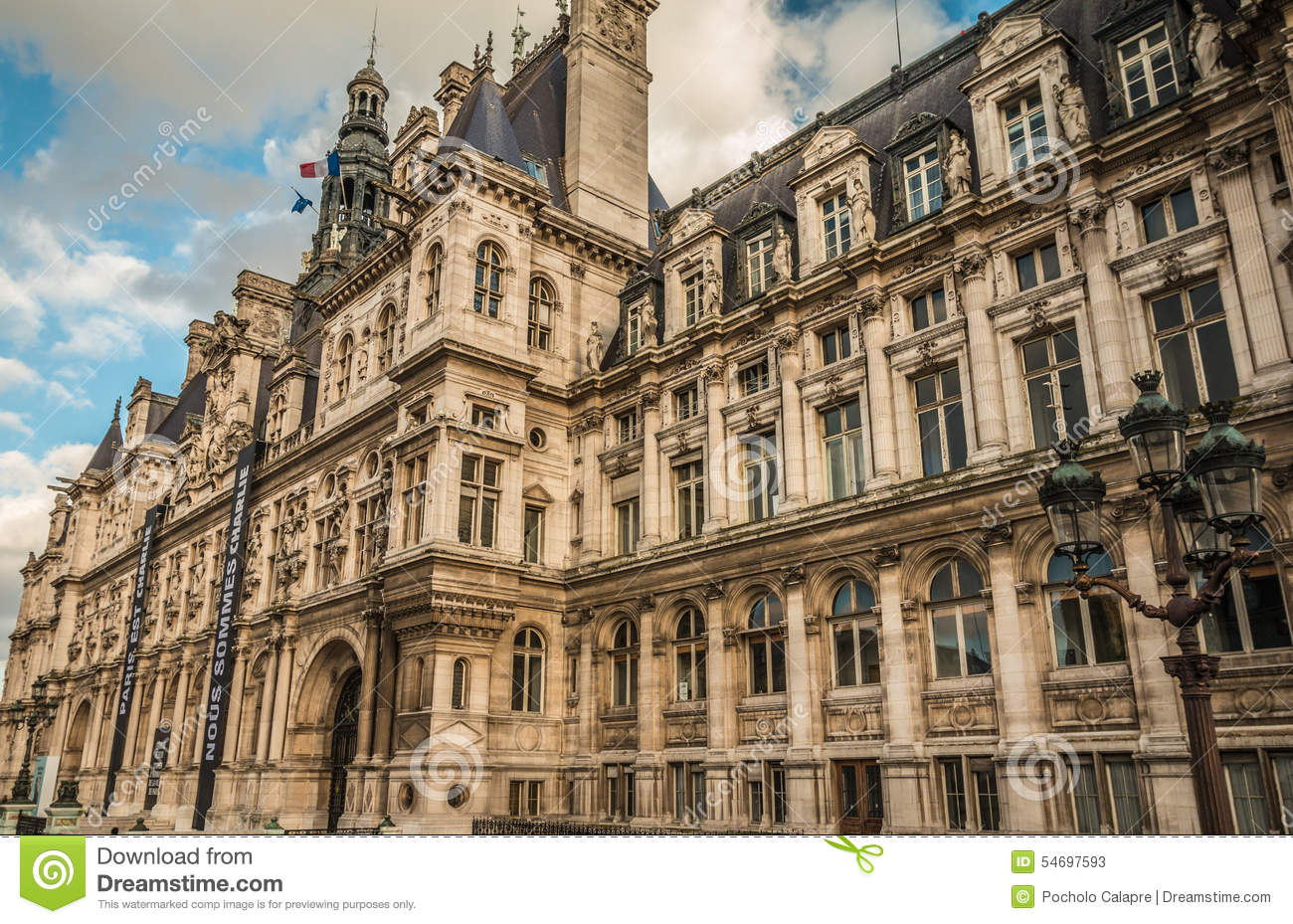 Hotel De Ville Of Paris City Hall Stock Photo Image
