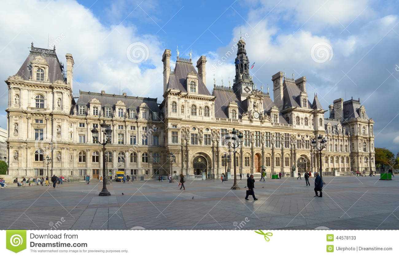 Hotel de ville in paris editorial stock photo image of for Hotel des bains paris 14e