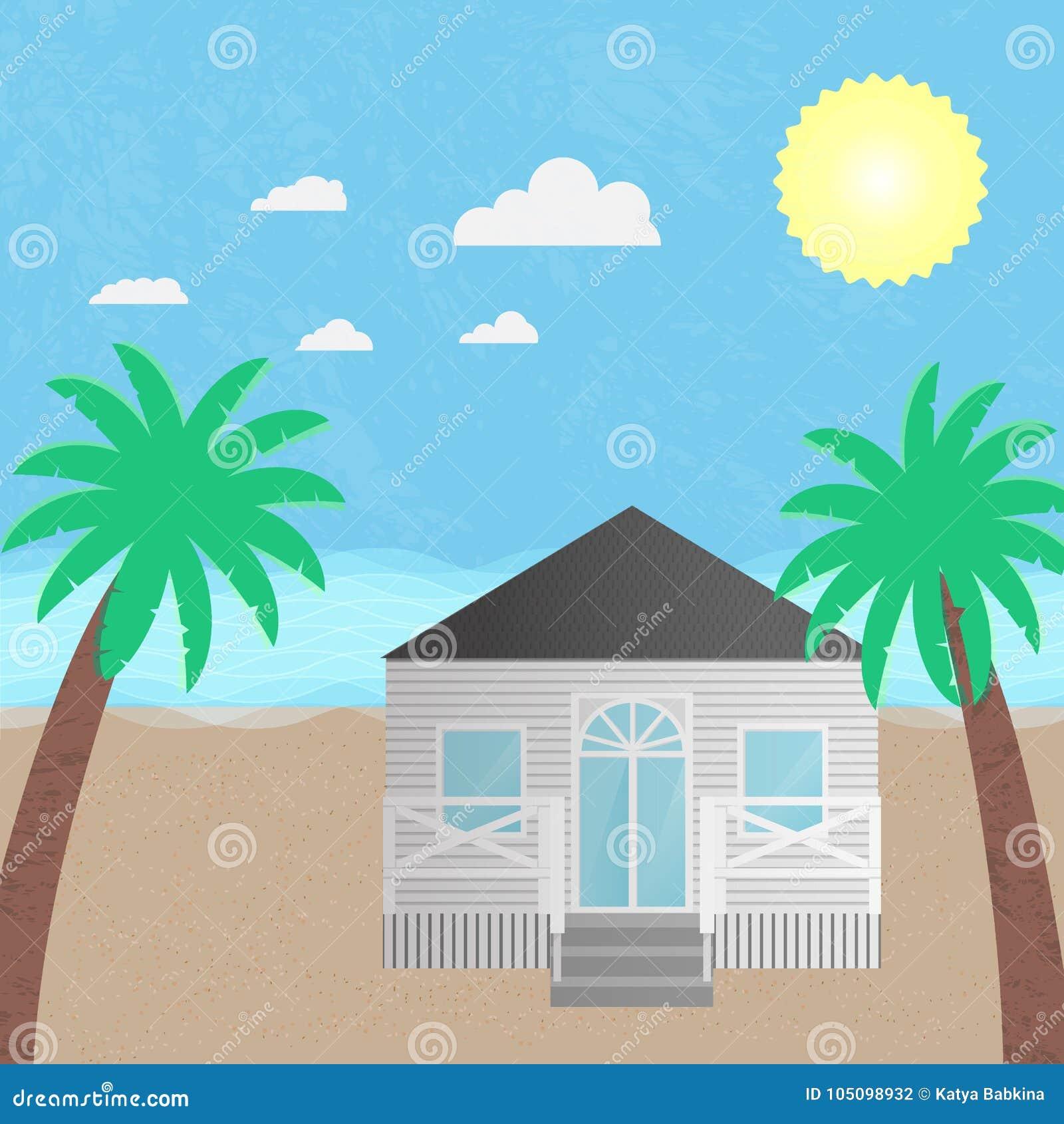 Hotel della casa di spiaggia dell illustrazione di vettore
