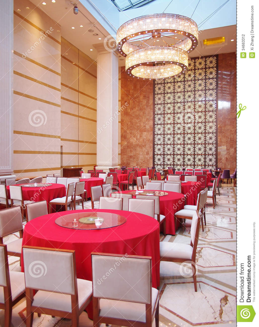 Hotel dining hall stock photo image of decoration trees for Small dining hall decoration
