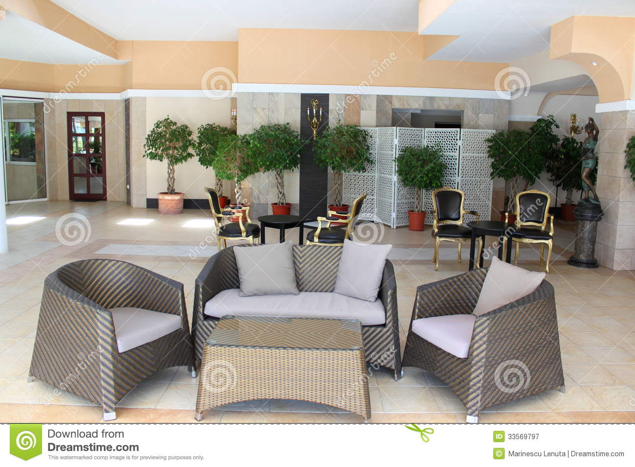 Luxury hotel lobby royalty free stock photography image