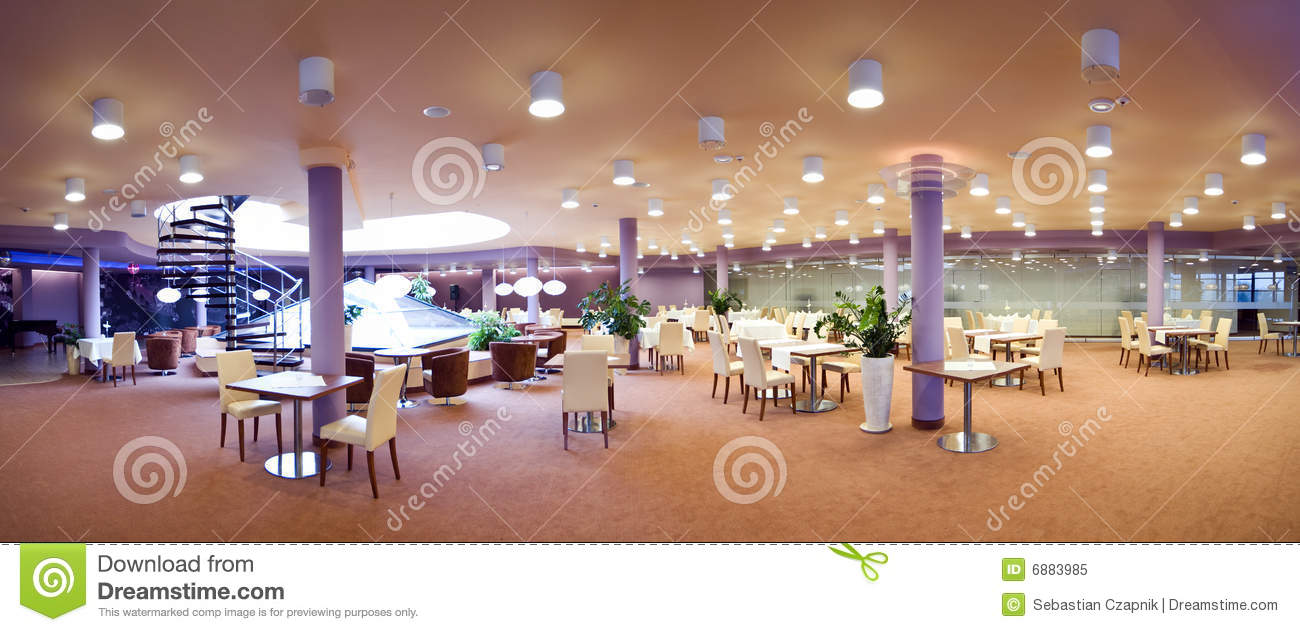 Hotel Dining Room Panorama Royalty Free Stock Photo Image - Hotel dining room furniture
