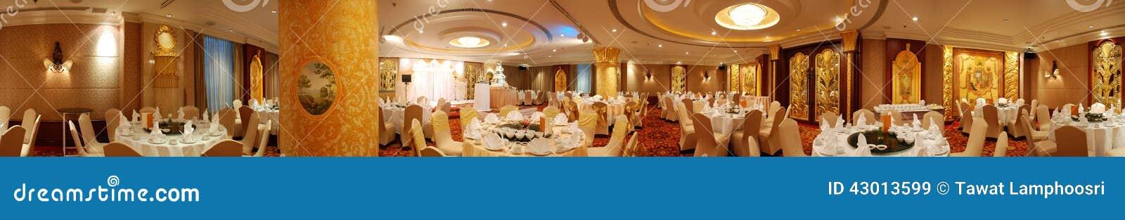 Hotel dining room panorama stock photo image