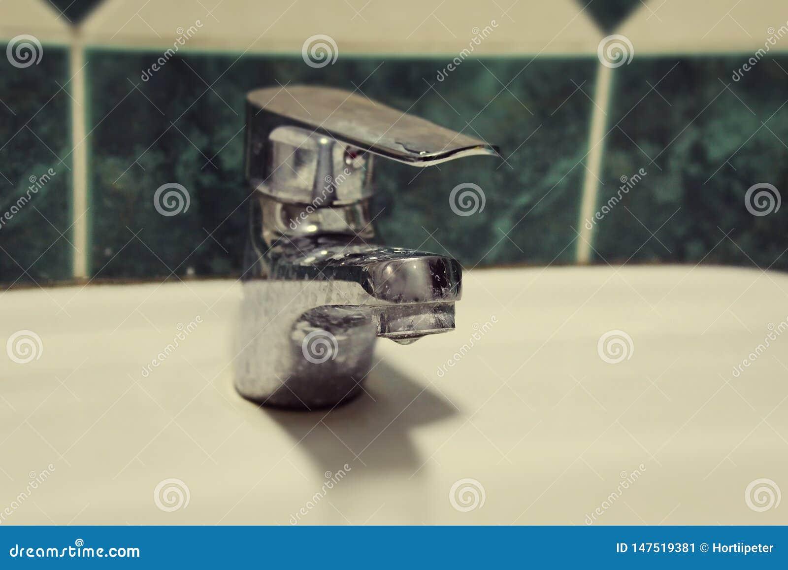 Hotel dirty fountain, spigot faucet
