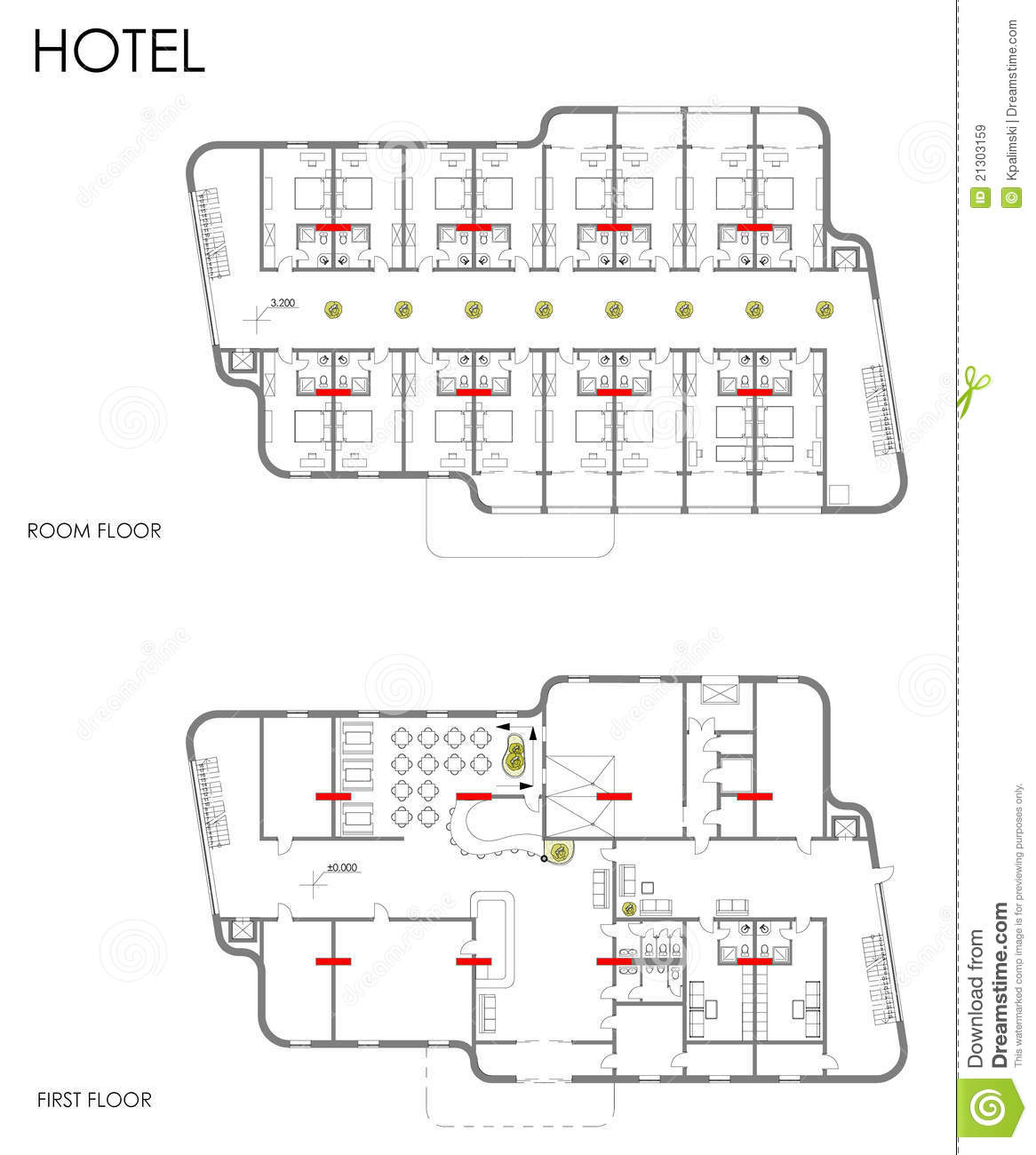 hotel drawing plan stock illustration illustration of second 21303159. Black Bedroom Furniture Sets. Home Design Ideas