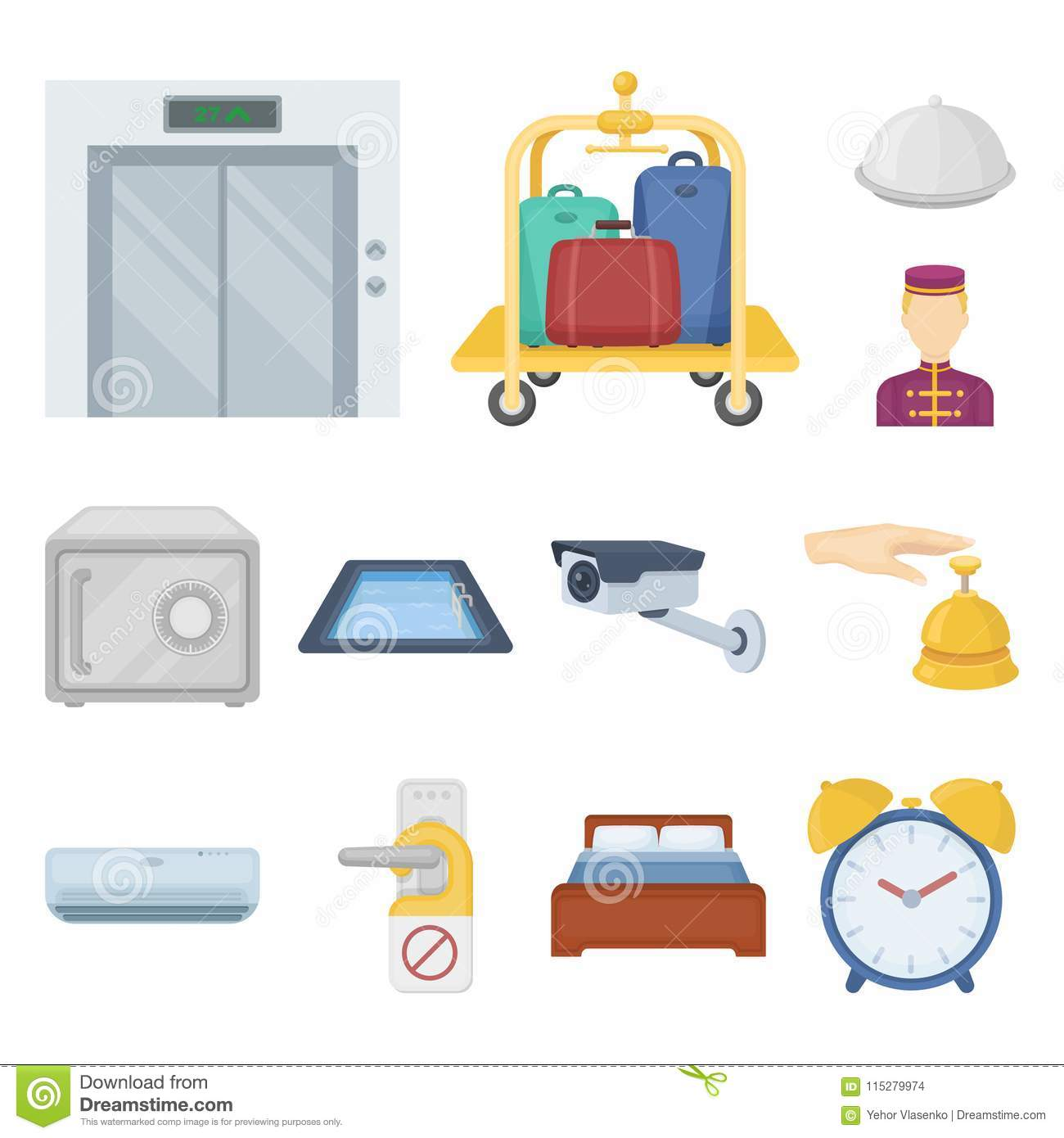 Hotel And Equipment Cartoon Icons In Set Collection For Design