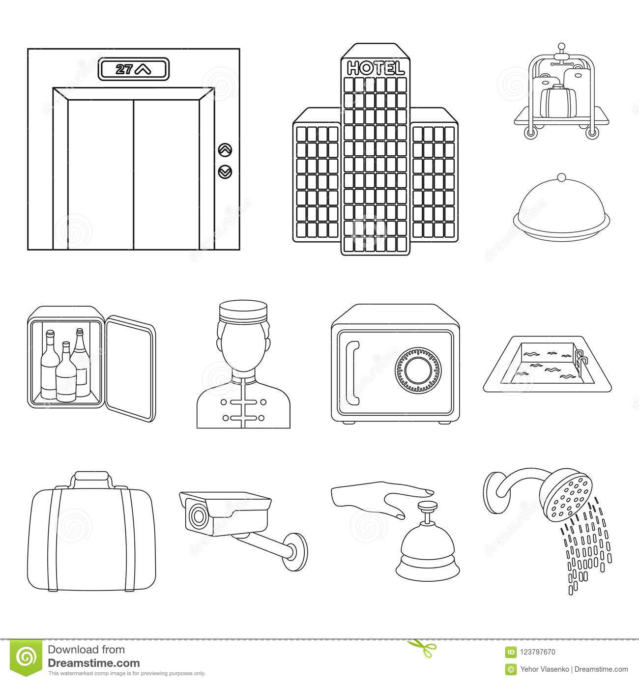 Hotel And Equipment Outline Icons In Set Collection For Design