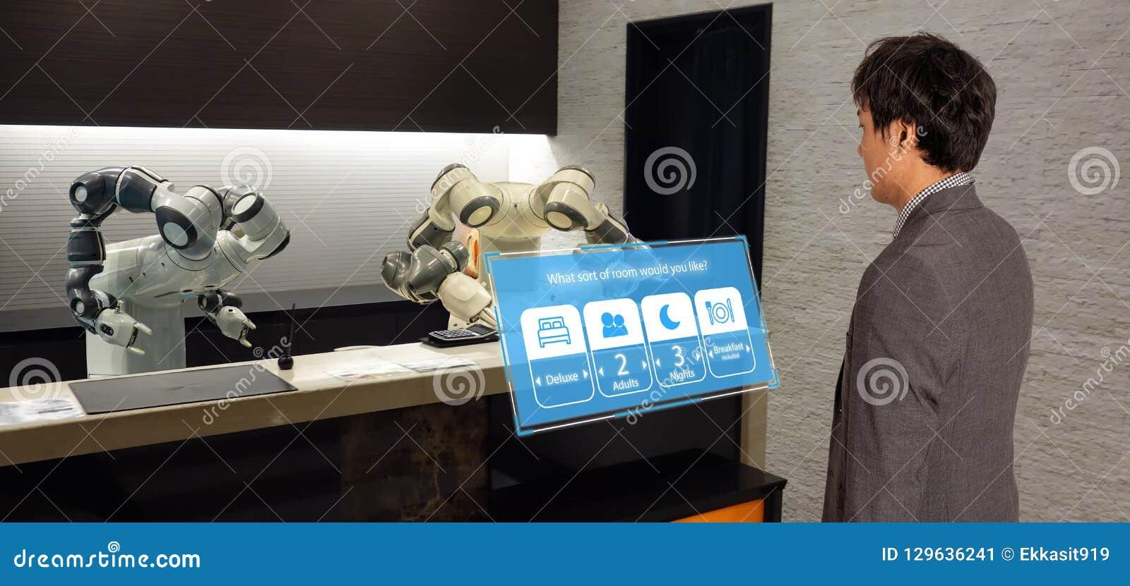 Hotel esperto na indústria 4 da hospitalidade 0 conceitos, o assistente do robô do robô do recepcionista na entrada do hotel ou a