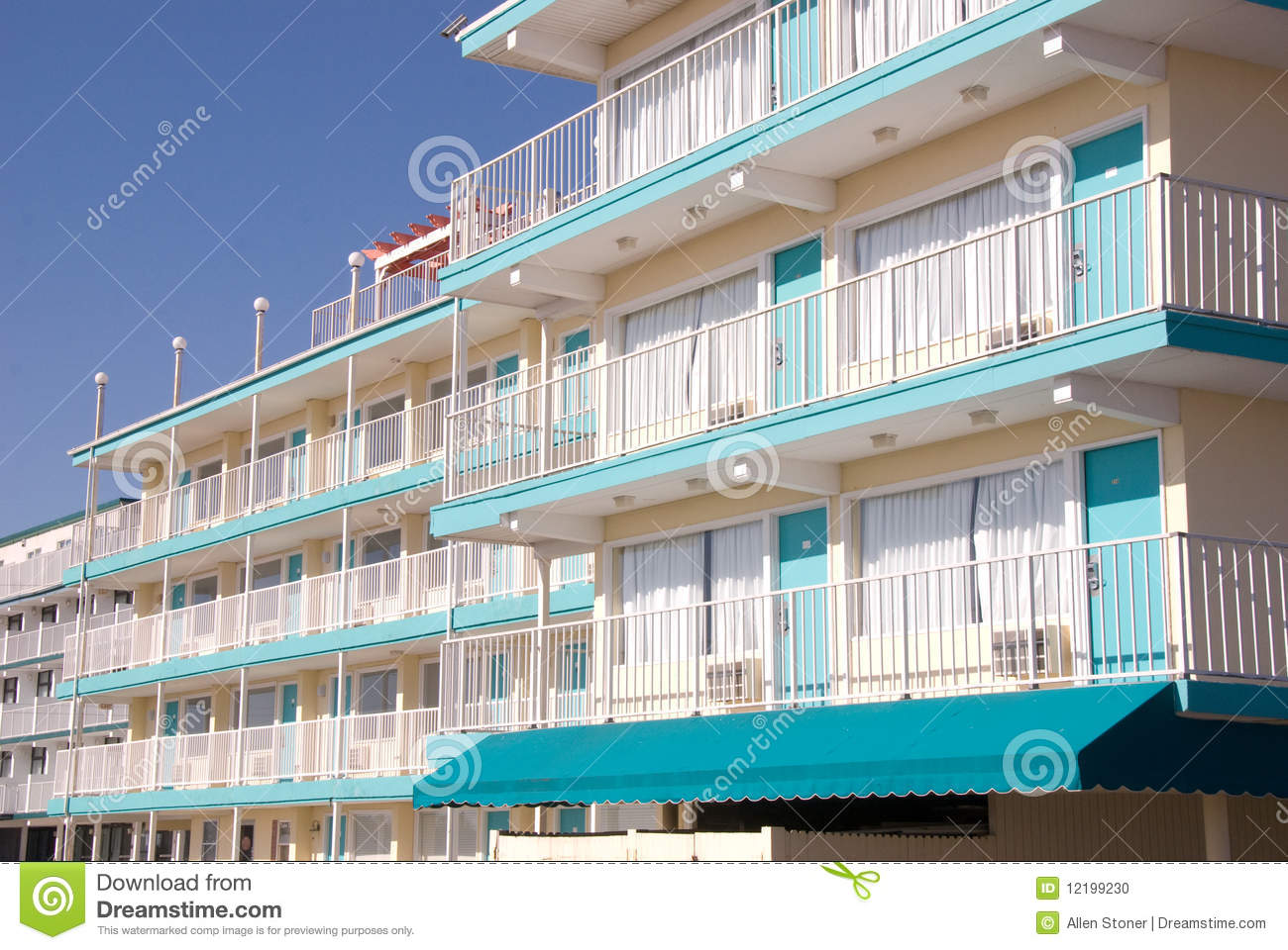 Hotel With Exterior Walkway Stock Photo Image 12199230